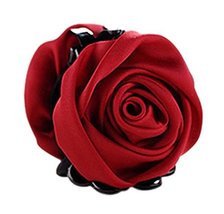 Elegant Satin Artificial Rose Flower Hair Claw Clips Ponytail Jaw Clips, Wine Re