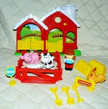 """Fisher Price Farm barn house 11"""" w/4 animals, street signs, hay, tools &... - $15.29"""