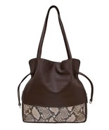 NEW ITALIA LEATHER WOMEN'S DRAWSTRING TOTE BAG WITH COSMETIC CASE BROWN/... - $59.35