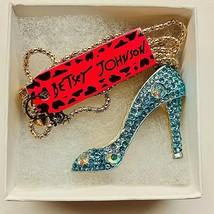 Betsy Johnson Blue Gold Tone Rhinestone High Heels Pendant - $21.00
