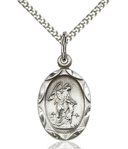 Guardian Angel Pendant - Silver Filled on a 18 inch Sterling Silver Curb Chain