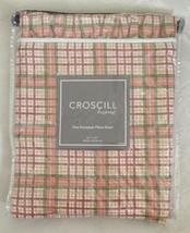 Croscill Carolina Cotton Euro Sham (1) Plaid Coral 27 x 27 with Pleated ... - $24.74