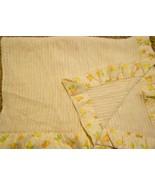 Vintage Carters Baby Blanket Yarn Nylon Edge Ivory Cream Orange Green Nu... - $39.48