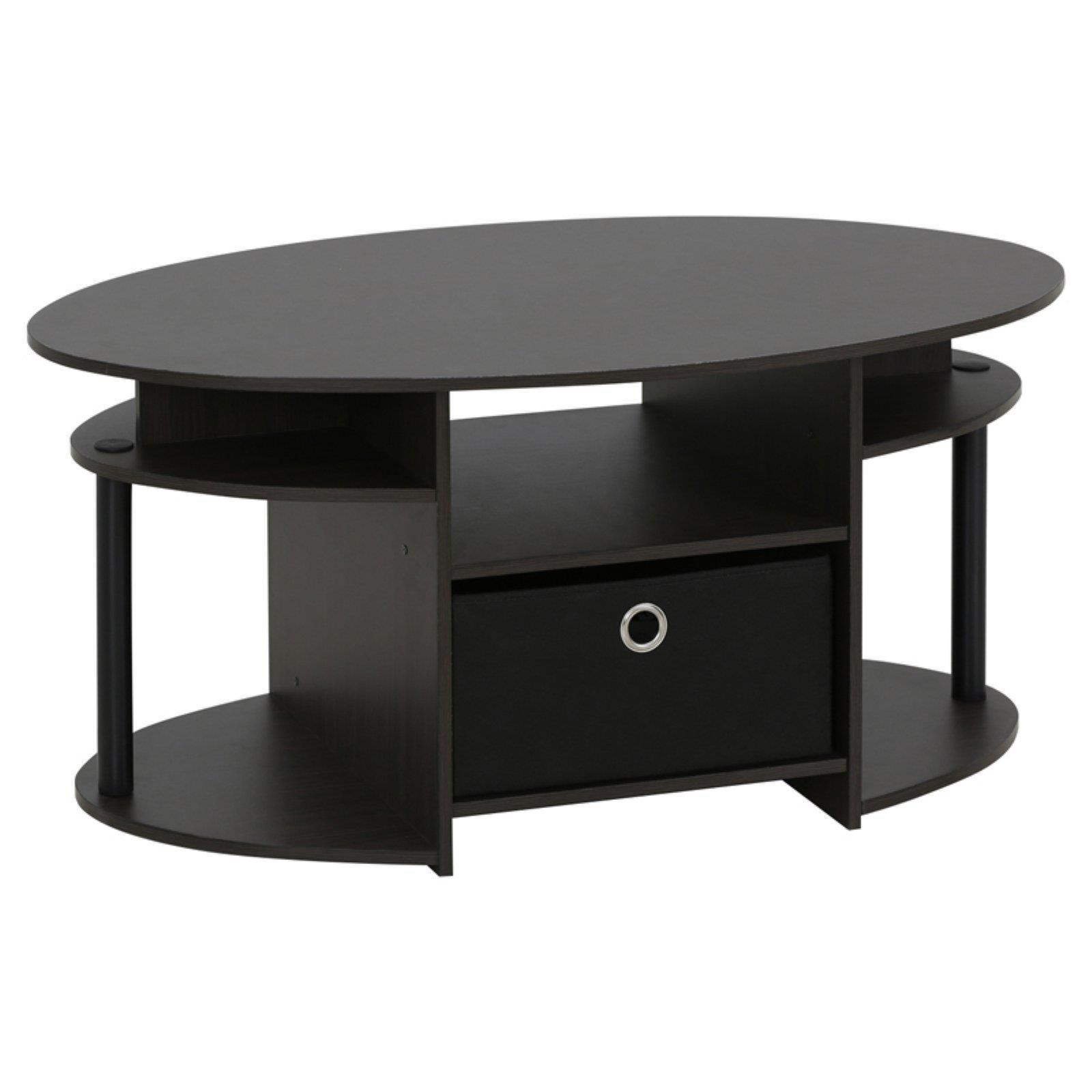 Furinno Jaya Oval Coffee Table: Oval Coffee Table With Bin Modern Wooden Tables Living