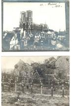 1918 WW I BELLEAU FRANCE AMERICAN CEMETARY ORIGINAL PHOTO & REIMS CHURCH... - $7.55