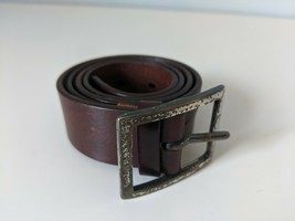"BANANA REPUBLIC BELT, UNISEX MED, 35"" BROWN LEATHER SPLIT STYLED - $5.67"