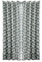 GEOMETRIC 3 PASS BLACKOUT STEEL GREY ANNEAU TOP CURTAINS 9 SIZES - $46.77+