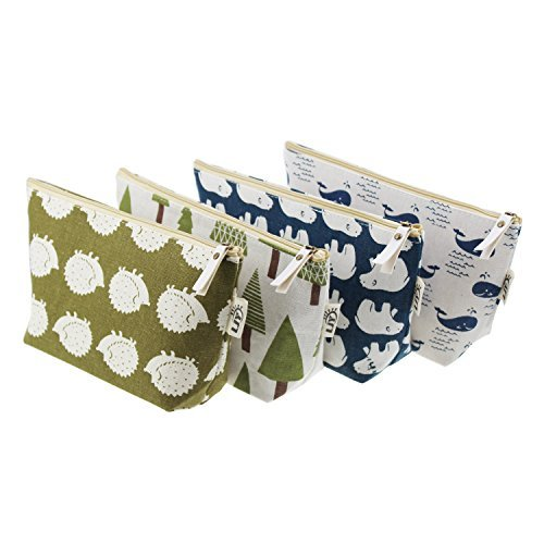 LJY 4 Pieces Assorted Large Capacity Forest and Animal Theme Linen Pen Holder St