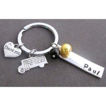 School Bus KeyChain,School Bus Driver Personalized Keyring,Thank you for keeping - $13.30