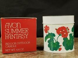 Avon Indoor Outdoor Tin Candle Summer Fantasy 4.4 OZ Refillable 1983  - $14.53