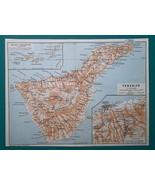 CANARY ARCHIPELAGO Spain & Tenerife Island + La Cruz Environs - 1911 MAP - $30.60