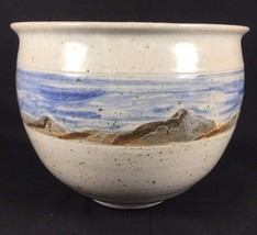 Handmade Studio Pottery Nature Scenic Mountain View Pot Stephen 89' - $46.39