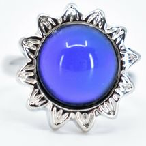 Sunflower Flower Silver Tone Round Cabochon Color Changing Adjustable Mood Ring image 6