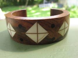 Chunky Wooden Wood Cuff Bracelet with Geometric Diamond Inlay Vintage Me... - $5.70