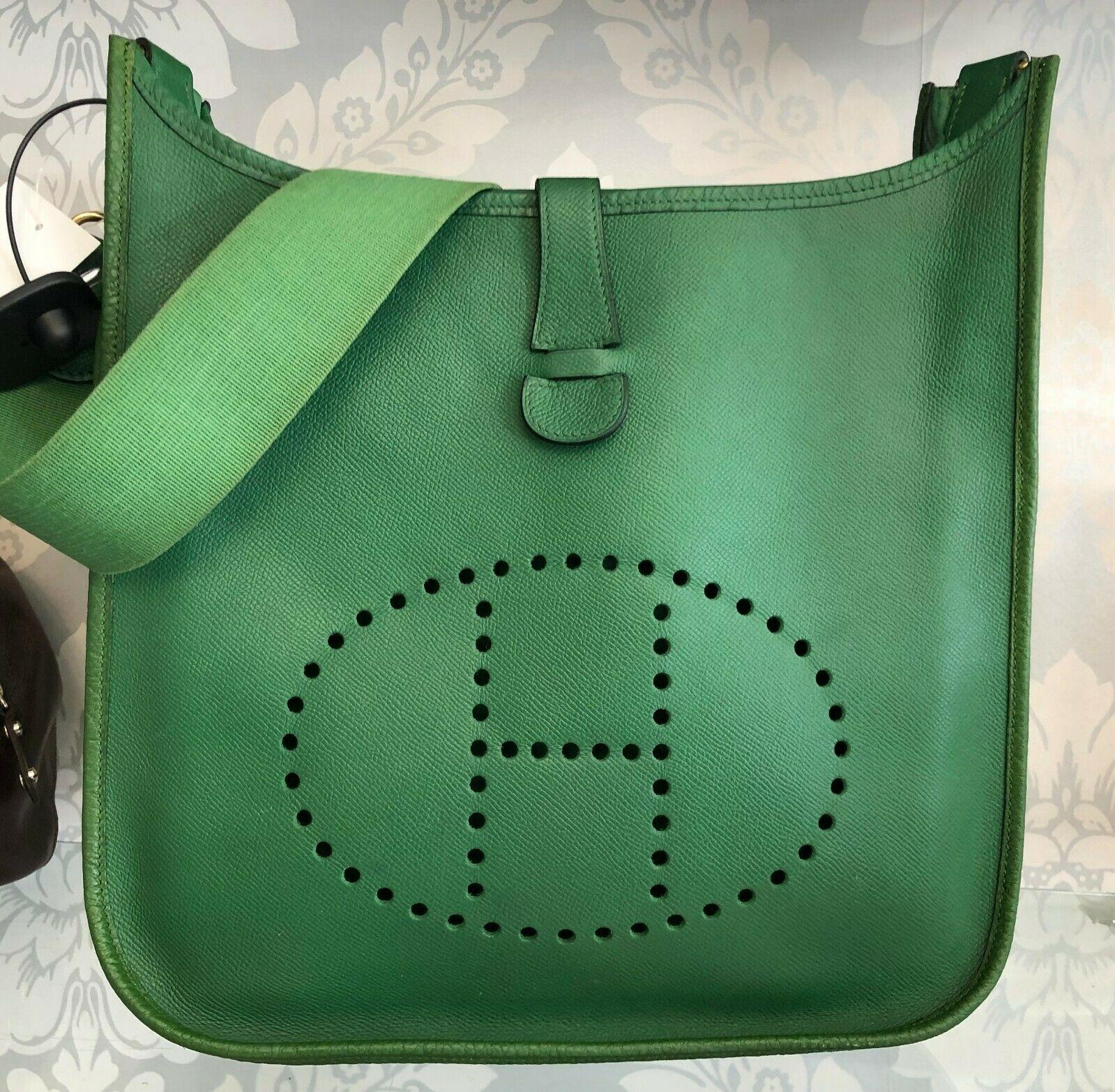 """HERMES Green Classic """"EVELYNE GM"""" Leather Tote/Shoulder Bag $$$$"""