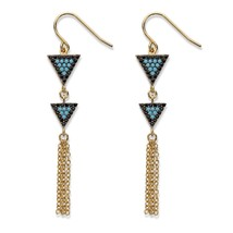 .33 TCW Cubic Zirconia & Crystal 14k Gold-Plated Triangle Fringe Drop Earrings - $23.79