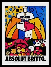 Absolut Britto AD 1990 Vodka Liquor Distillery Romero Britto Advertising... - $14.99