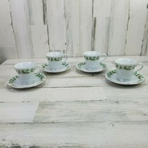China Pearl Noel Coffee Tea Cups Saucers Fine China Holly Berries 6 oz S... - $14.54