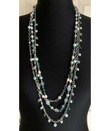 Multi Strand Blue & Green Beads Faux Pearl Silver Tone Chain Necklace - $19.79