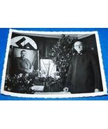 ORIGINAL WW2 GERMAN PHOTO: REICHSBAHN EMPLOYEE BY LARGE PORTRAIT OF HITLER - $10.00