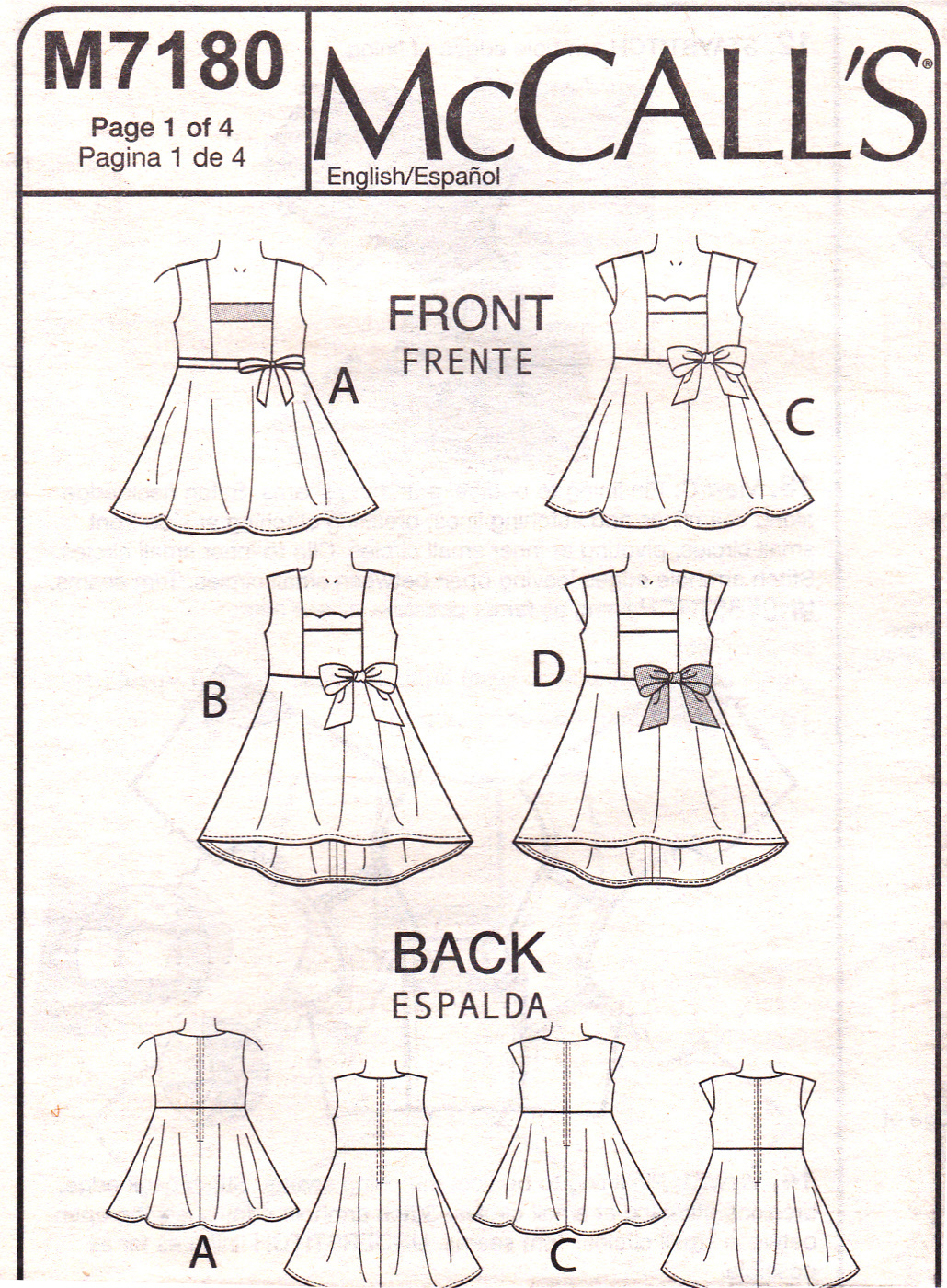 McCall's M7180 Girls Dresses Sewing Pattern Childrens Kids Sizes 3-4-5-6