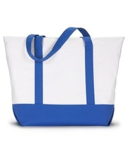UltraClub Zippered Polyester Tote Bag 7006 White/ Royal - $24.91