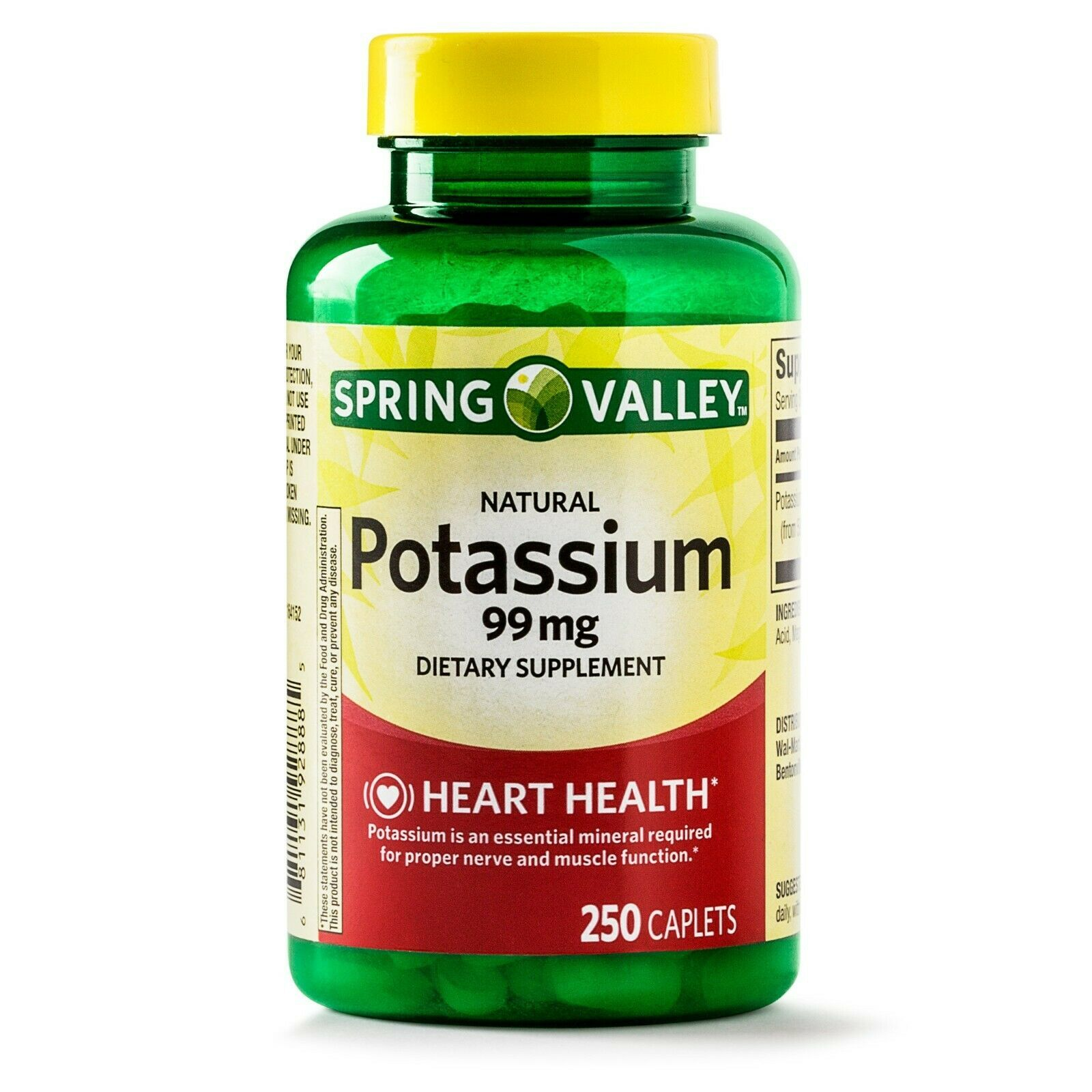 Spring Valley Potassium Dietary Supplement Caplets, 99mg, 250-Count. - $11.87