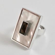 Ring aus Silber 925 mit Perlmutt Weiß Rechteckig und Kristall image 2