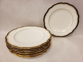 "Set of 8 Coalport Spearpoint Cobalt Gold Trim Scalloped Luncheon Plates 9"" - $168.29"