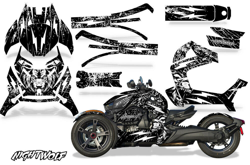 Full Body Wrap Graphic Sticker Decal for Can-Am Ryker 2019 - Nightwolf White