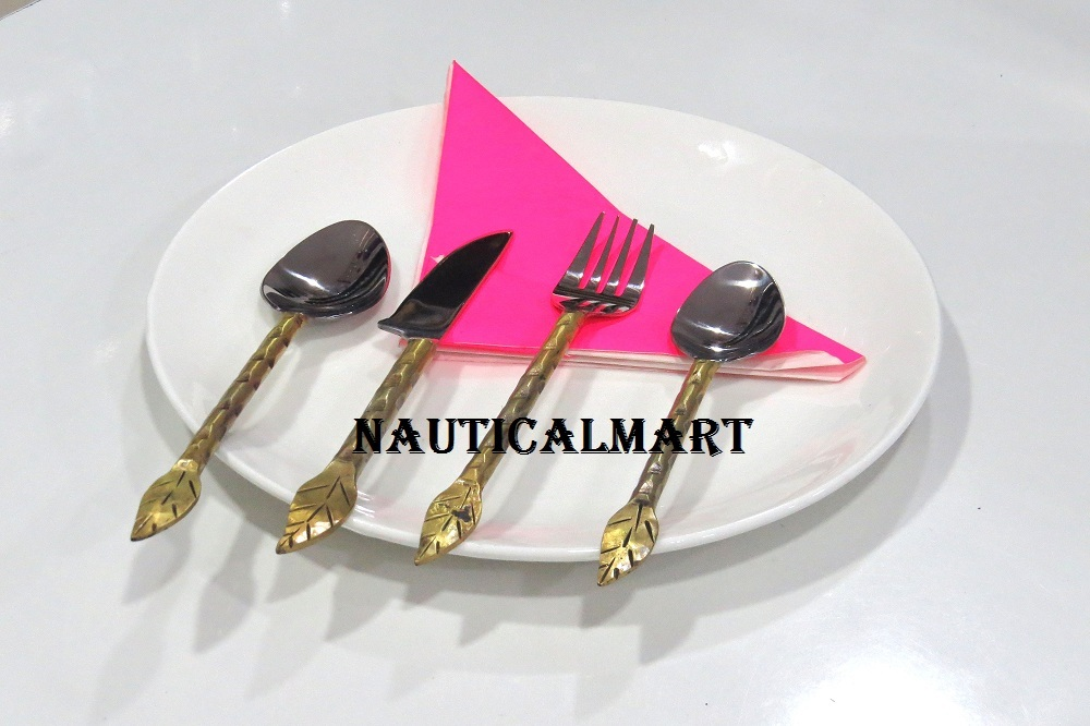 Primary image for Al-Nurayn Stainless Steel And Brass Spoon Cutlery Set Of 8 By NauticalMart