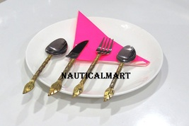 Al-Nurayn Stainless Steel And Brass Spoon Cutlery Set Of 8 By NauticalMart - $169.00