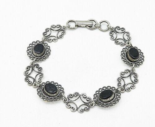 BEAU 925 Silver - Vintage Black Onyx Floral Swirl Linked Chain Bracelet - B4866