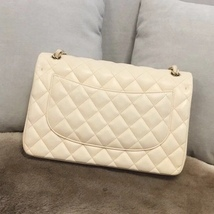 AUTH CHANEL BEIGE LAMBSKIN QUILTED JUMBO DOUBLE FLAP BAG GOLD HARDWARE image 3