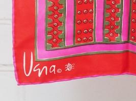 "Vera Neumann Lightweight 23"" Square Scarf Red/Pink Stripe Print Silk Han... - £19.10 GBP"