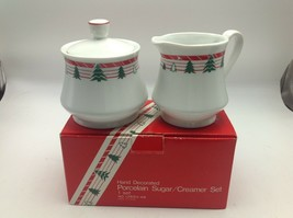 Vintage 1980s Christmas Tree Sugar & Creamer Hand Decorated Porcelain   - $9.28