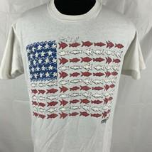Vintage Fish Logo Flag T Shirt 1991 Single Stitch FOTL Tag Crew S/S Tee ... - $19.50