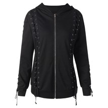 Lace Up Zipped Hoodie(BLACK L) - $36.60