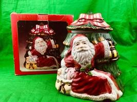 World Bazaars Santa Claus Christmas Tree Ceramic Cookie Jar Hand Painted - $18.70
