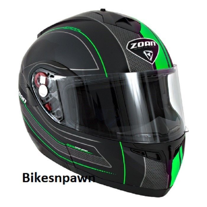 New 3XL Zoan Optimus Black & Green Raceline Modular Motorcycle Helmet 138-159