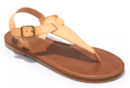 Universal Thread Womens Tan Faux Leather Lady Toe Thong Summer Sandals Vegan NEW image 1