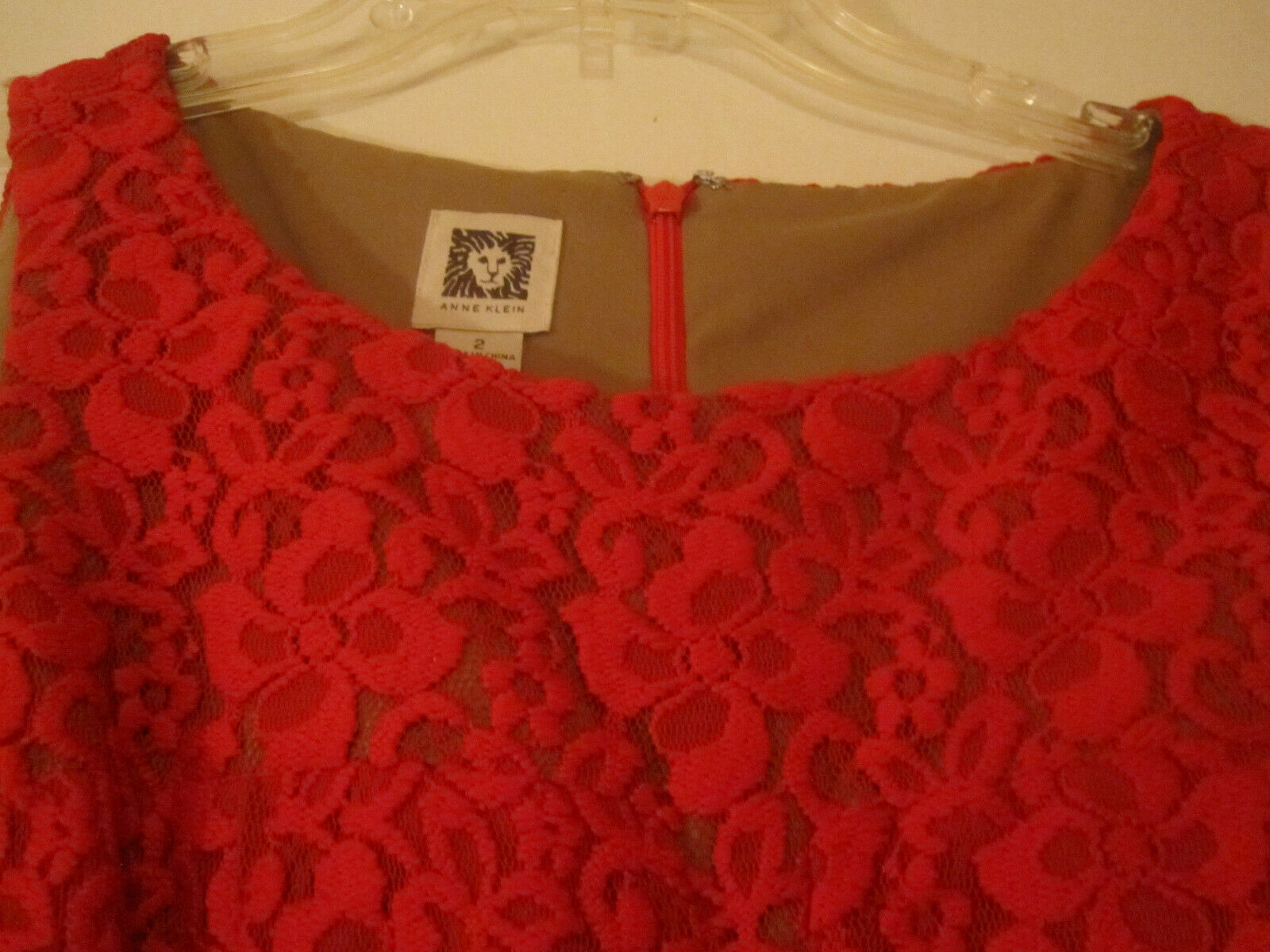 Anne Klein Womens Red Crochet Dress Lined Sleeveless Size 2 image 4