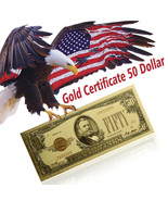 WR 1928 $50 Dollar Colored Gold Banknote Certificate Old Bill Note Colle... - $2.66