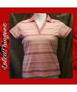 Greg Norman S Golf Polo Pink White Striped Top - $12.23