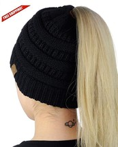 Beanie Tail Hat Warm Cable Knit Messy High Bun Ponytail Stretch Beanie C... - $22.64 CAD