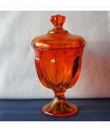 Viking Glass Epic 6 Petal Covered Candy Jar Persimmon #6812, Apothecary ... - $67.00