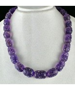 TOP ANTIQUE NATURAL AMETHYST BEADS CARVED LONG 926 CTS GEMSTONE SILVER N... - $1,520.00