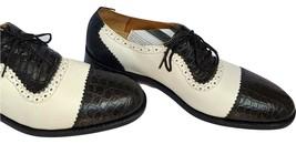 Two Tone Oxford Black White Men Crocodile Leather Cap Toe Laceup Shoes US 7.5-8 - $179.99+