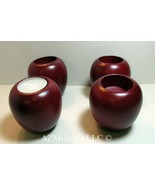 4 Wood Apple Shaped Tealight Holders by Colonial Candle of Cape Cod (N6399) - $5.75