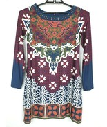 Halo Womens Dress Multi Color Abstract Print Studded Stretch Long Sleeve... - $26.55